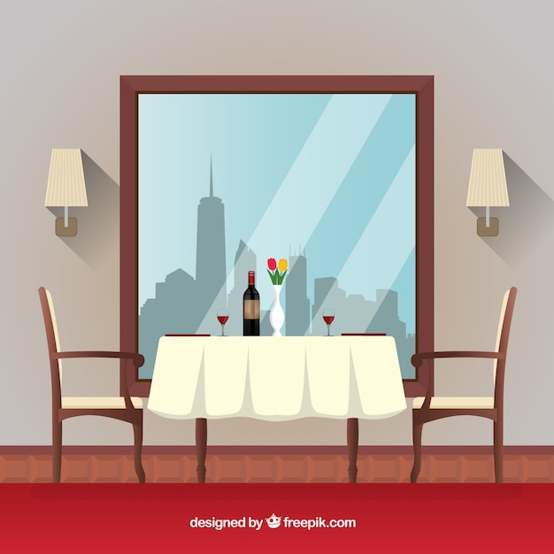 Anime Royal Dining Room: Restaurant Scene With A Romantic Table Vector