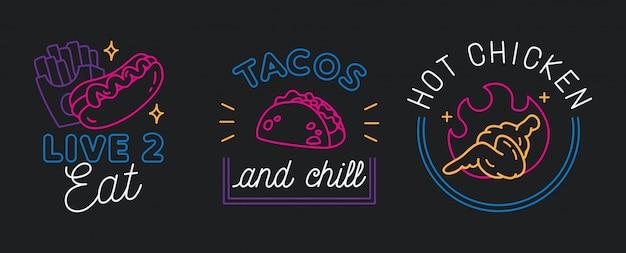 Restaurant sign in line style vector Premium Vector