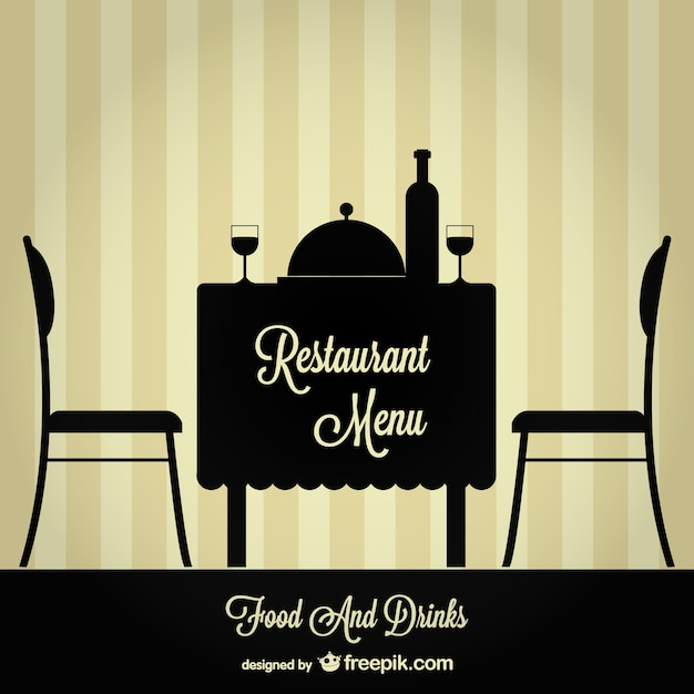 Restaurant table and chairs silhouettes in black vector