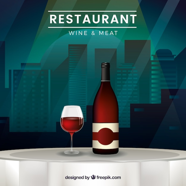Restaurant table background with bottle of wine\ and glass