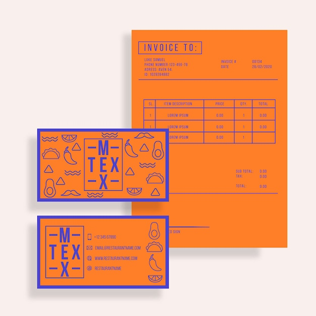 Restaurant templates for business card and invoice Free Vector