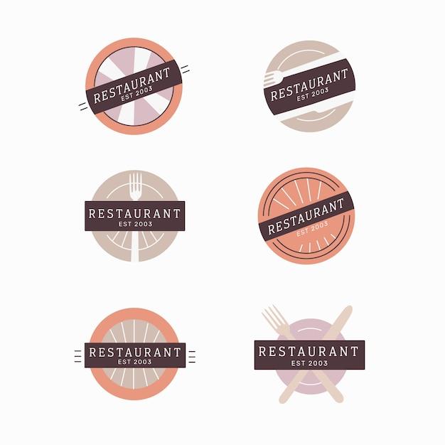 Restaurant vintage brand logo collection Free Vector