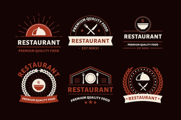 Restaurant vintage logo collection Free Vector