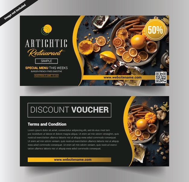 Restaurant voucher Premium Vector