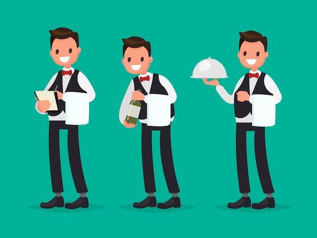 レストランのウェイターが注文を取り、ワインのボトルを見せ、料理を運びます。フラットスタイルのベクトル図 Premiumベクター