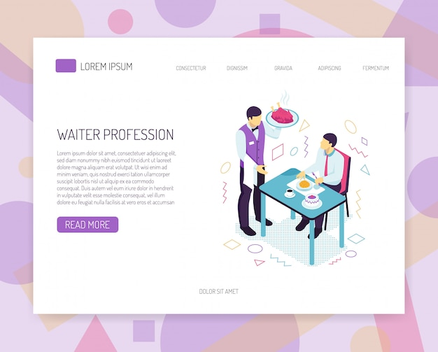 Restaurant waiter with dish during customer service isometric web banner with interface elements Free Vector