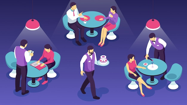 Restaurant waiters during clients service on dark  isometric horizontal Free Vector