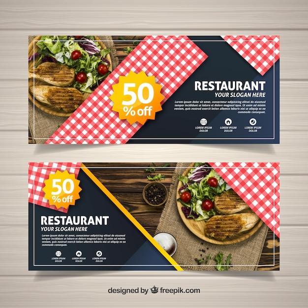 Restaurant web banner collection with photo Free Vector