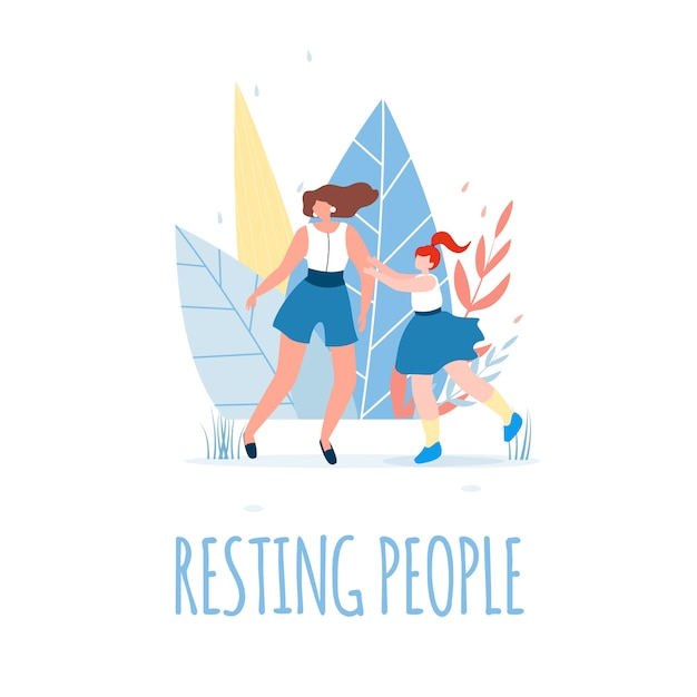 Resting people text and happy female characters. Premium Vector
