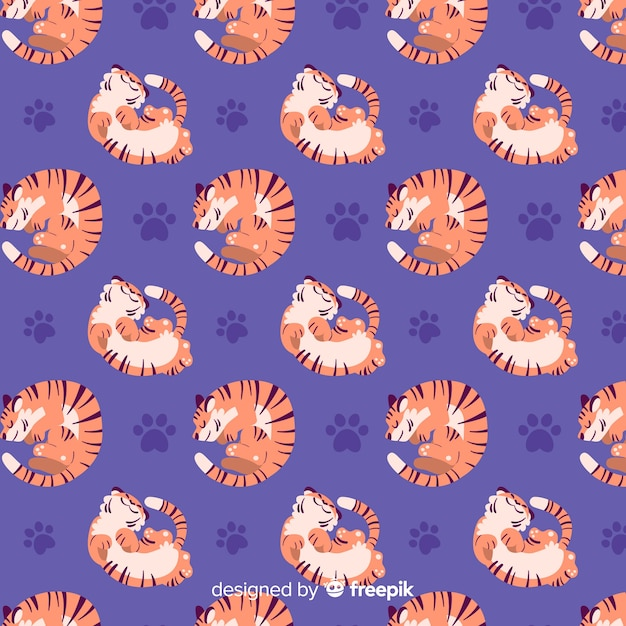 Resting tiger pattern Free Vector