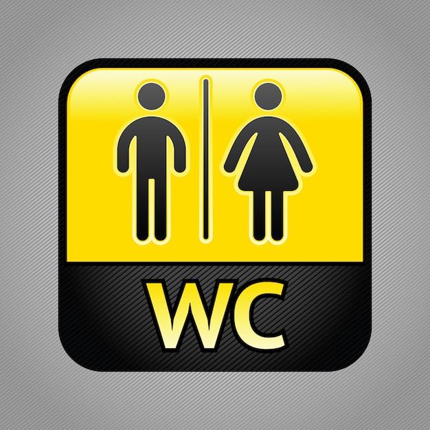 Restroom symbol illustration Premium Vector