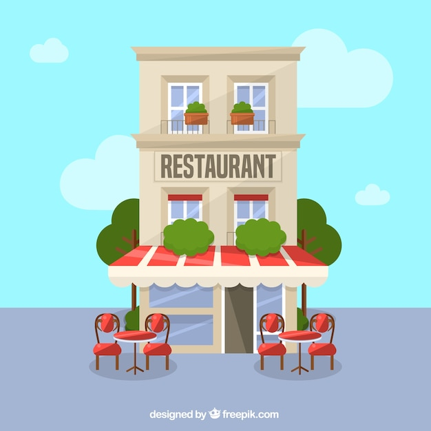 Resturant building background Free Vector