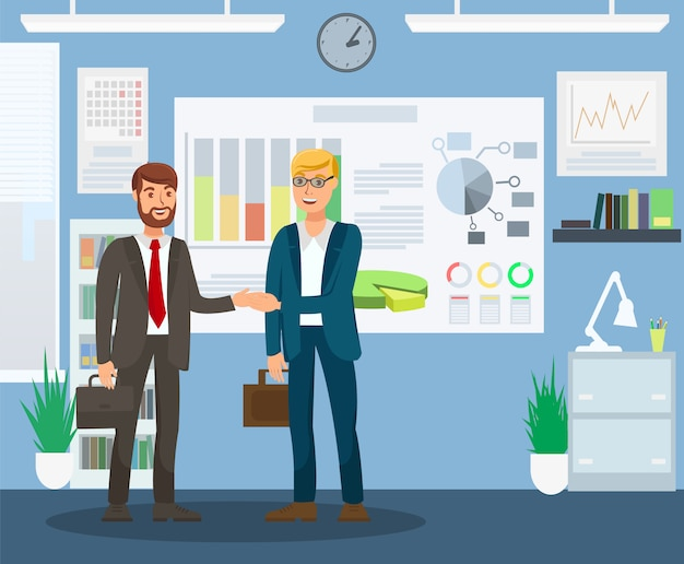 Resultative job interview flat color illustration Premium Vector