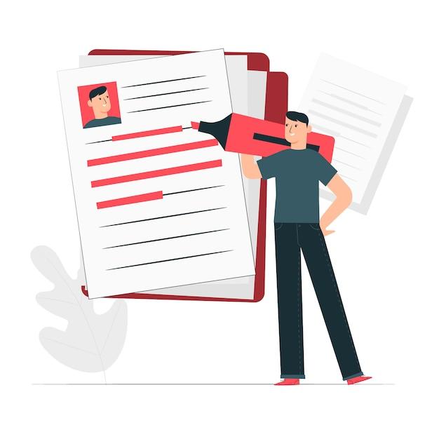 Resume concept illustration Free Vector