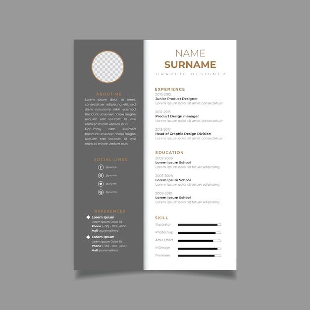 Resume Design Template Minimalist Cv Business Layout Vector For