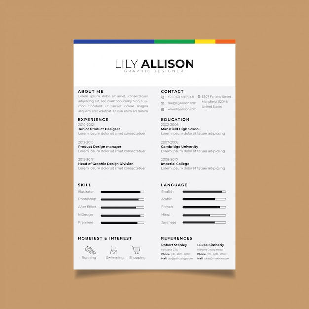resume design template minimalist cv vector