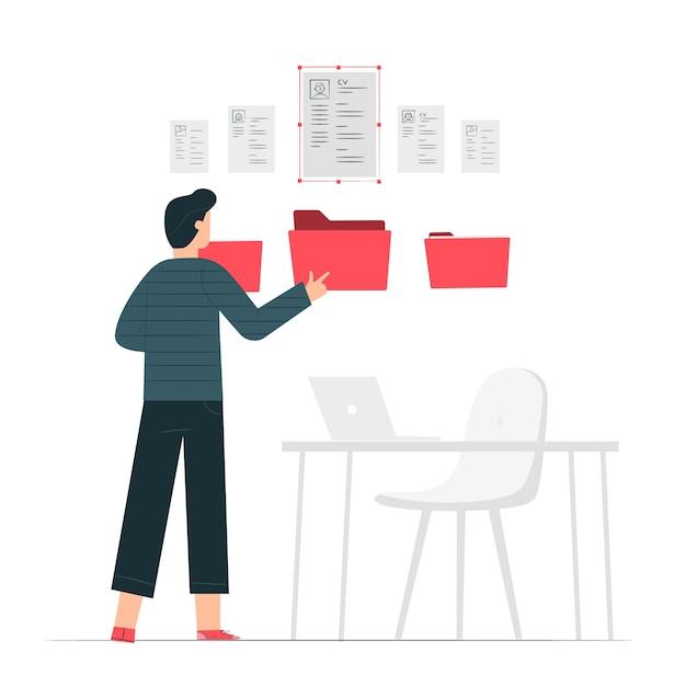 Resume folder concept illustration Free Vector
