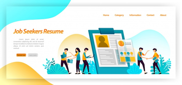 Resume job seekers. application form to find workers or employees for company jobs interviews. landing page web template Premium Vector