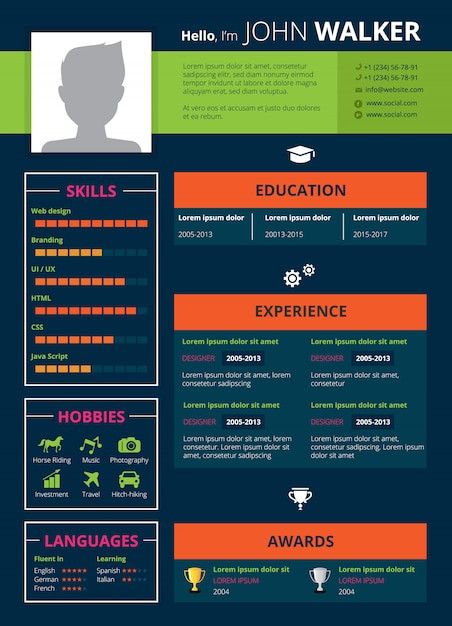 Resume page design Free Vector