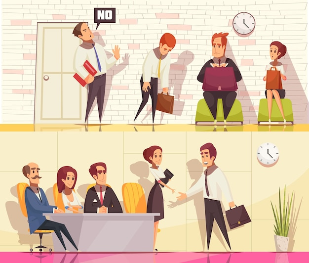 Resume recruiting horizontal banners collection with flat human characters during job interview with indoor interior elements Free Vector