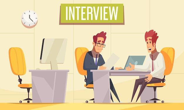 Resume recruiting  with indoor office interior with pieces of workplace furniture and communicating human characters Free Vector