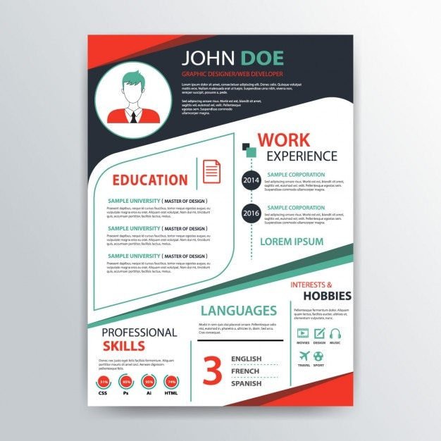 resume template  blue and red colors vector