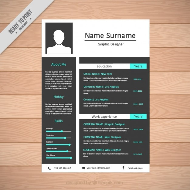 resume template in flat design free vector