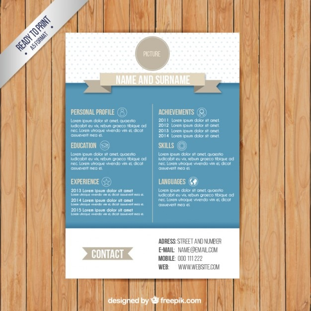 resume template in retro style vector