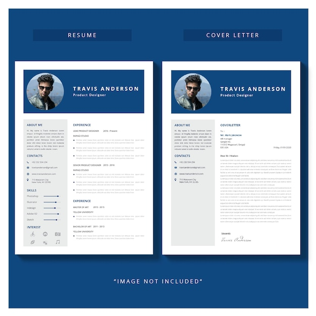 Resume template with cover letter Vector | Free Download