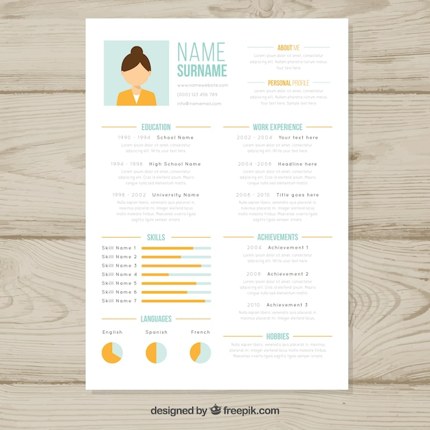 Resume template with graphs Free Vector