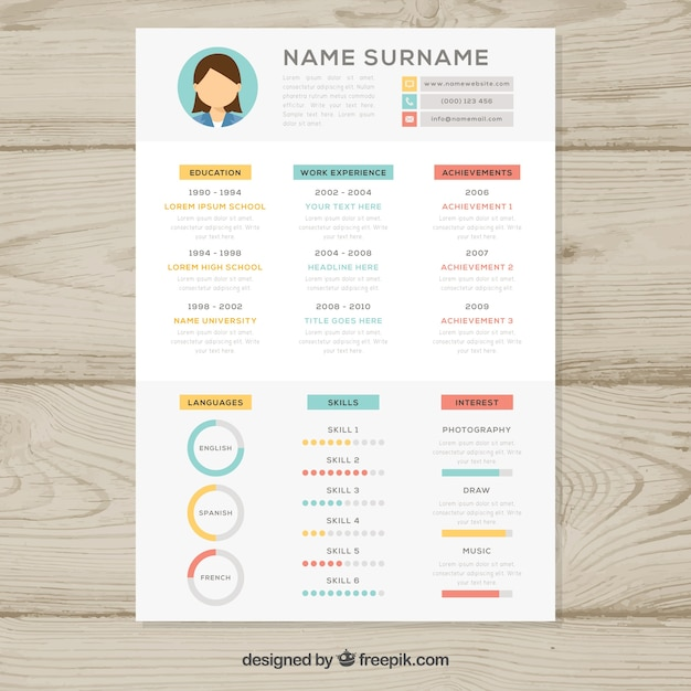 Resume Template With Graphs Vector  Free Download