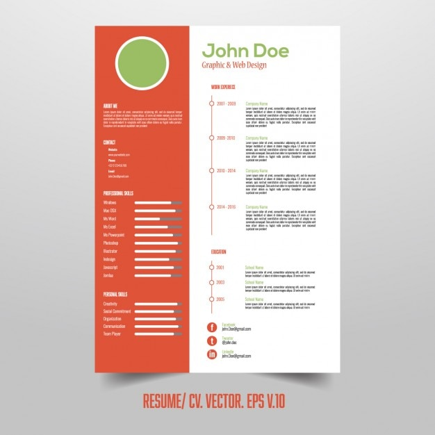 resume template with useful infographic elements free vector - Elements Of A Resume