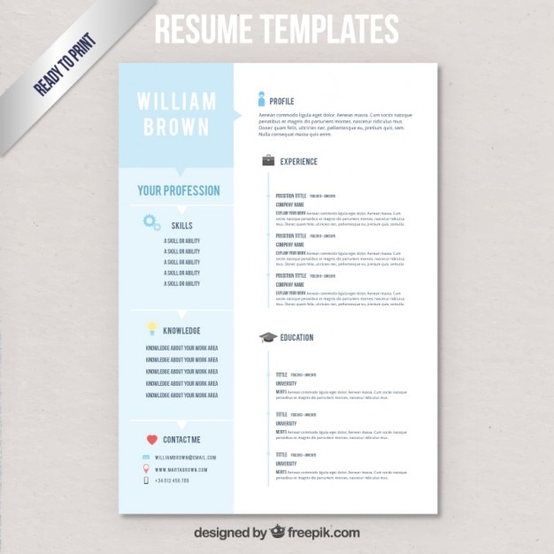 resume templates vector free
