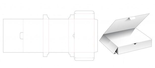 상단 플랩 다이 컷 템플릿이 포함 된 소매 상자 프리미엄 벡터
