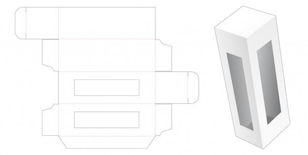 ウィンドウダイカットテンプレート付きの小売包装箱 Premiumベクター