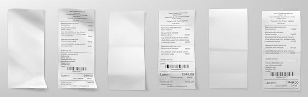 Счет за розничную покупку. квитанция за покупки в супермаркете, чек на сумму счета и распродажа в магазине полной стоимости. квитанции об оплате счетов-фактур, бланк розничной покупки. Premium векторы