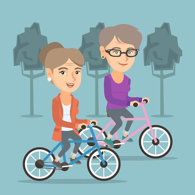 Retired caucasian women riding bicycles in park. Premium Vector