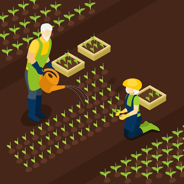 Retired farmers life isometric banner  isomentric Free Vector