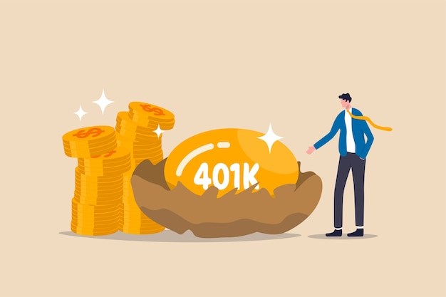 Retirement 401k investment, tax defer mutual fund for salary man financial success concept, happy young businessman investor stand with wealthy golden egg with word 401k and dollar money coin stack. Premium Vector