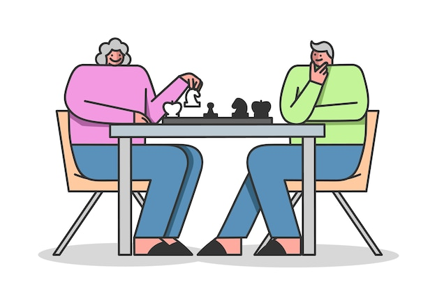 Retirement people man and woman play chess Premium Vector