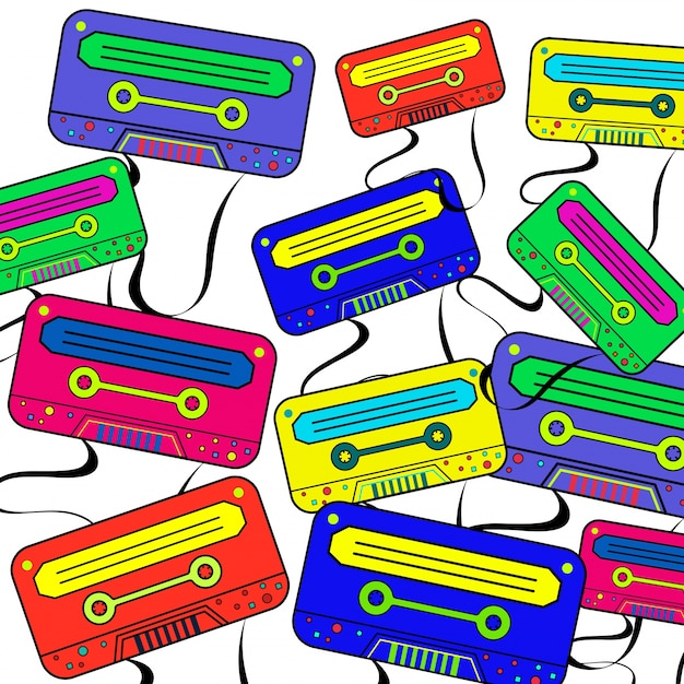 retro 80 s background wallpaper with colorful boombox vector