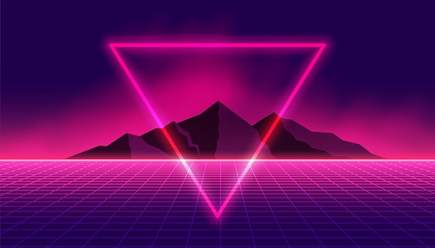 Retro 80s background with neon triangle and mountain Free Vector