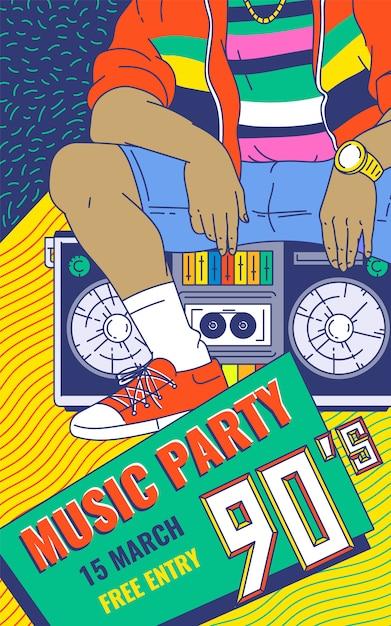 Retro 90s music party colorful background cartoon sketch vector illustration. Premium Vector