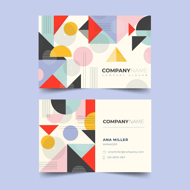 Retro abstract business card template Free Vector
