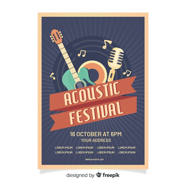 Retro acoustic festival poster template Free Vector