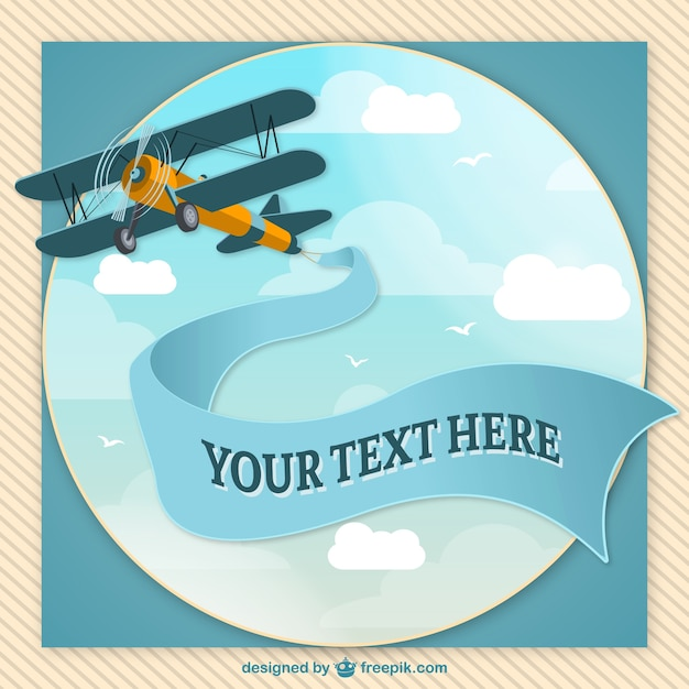 Retro airplane with message Free Vector