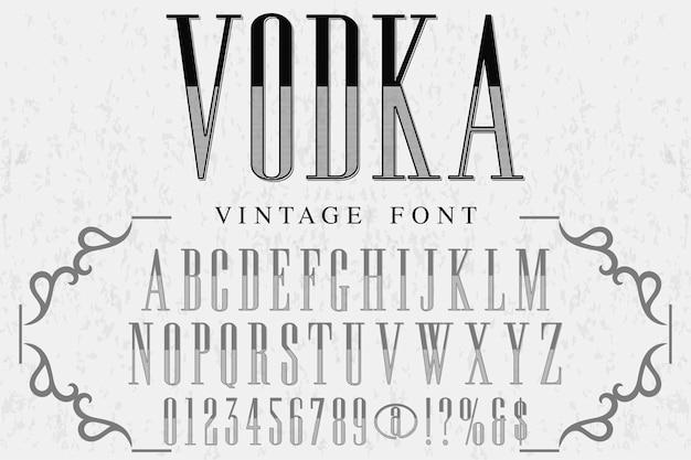 Retro alphabet alphabet font design vodka Premium Vector