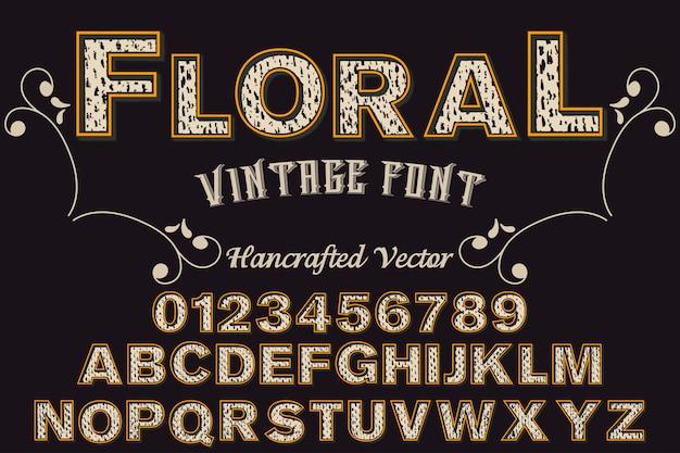 Retro alphabet design floral Premium Vector