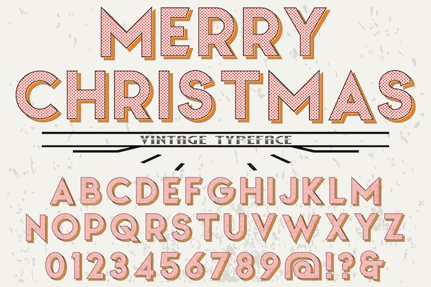Retro alphabet label design merry christmas Premium Vector