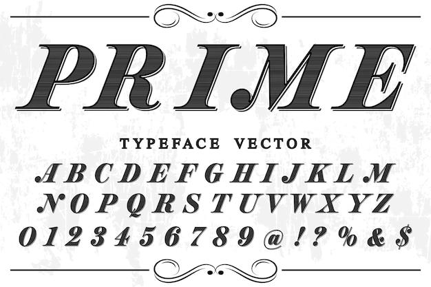 Ретро алфавит дизайн этикетки премьер Premium векторы